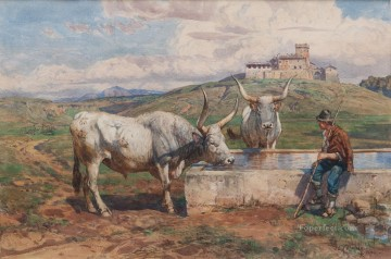Animal Painting - AL FONTANILE Enrico Coleman genre cattle