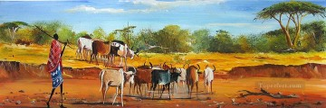 In the Dried River bulls Oil Paintings