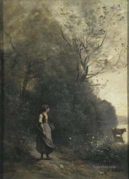 Animal Painting - Jean Baptiste Camille Corot l Peasant Girl Grazing a Cow in the Forest