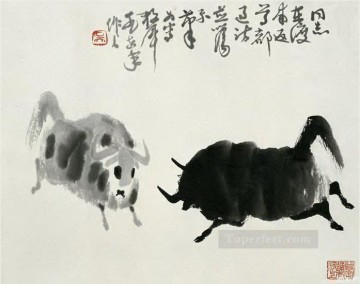Animal Painting - Wu zuoren fighting cattle old China ink