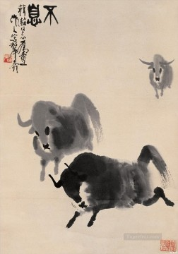 Animal Painting - Wu zuoren running cattle old China ink