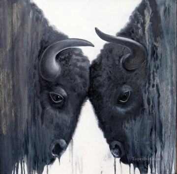 black and white bulls Oil Paintings