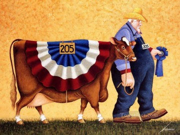 cattle bull cow Painting - cartoon farmer and cattle