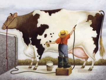 cow bathing Oil Paintings