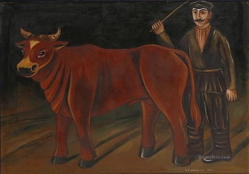 cattle bull cow Painting - farmer with a bull 1916