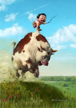 running cow and kid Oil Paintings
