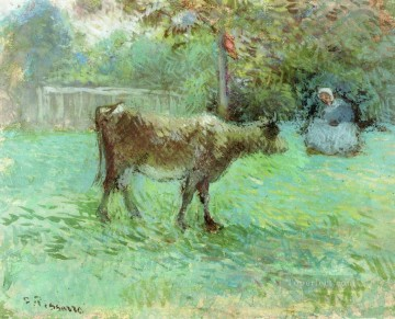 cattle bull cow Painting - the cowherd Camille Pissarro