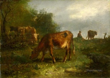 cattle bull cow Painting - troyon cattle
