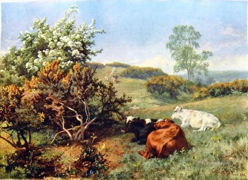cattle bull cow Painting - Charles Collins landscape with cattle