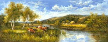 idyllic Painting - Idyllic Countryside Landscape Farmland Scenery Cattle 0 415