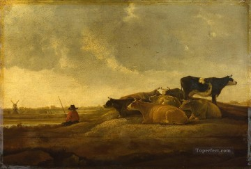 Animal Painting - Imitator of Aelbert Cuyp A Herdsman with Seven Cows by a River