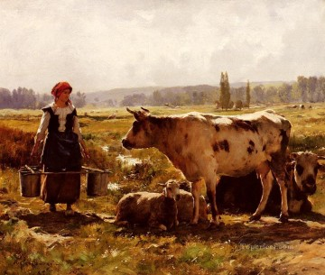 Animal Painting - La Laitiere farm life Realism Julien Dupre