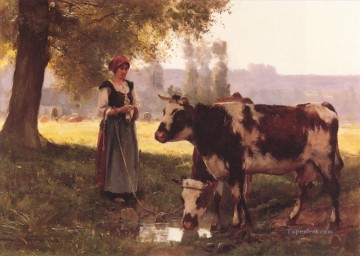 Animal Painting - La Vachere farm life Realism Julien Dupre
