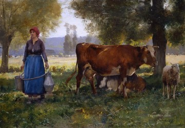 Animal Painting - Laitiere farm life Realism Julien Dupre