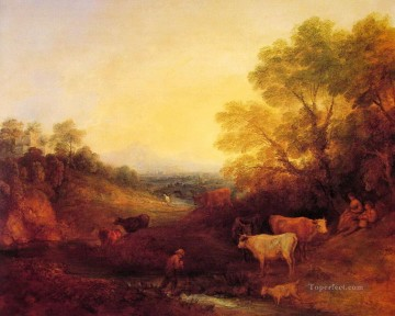 cattle bull cow Painting - Landscape with Cattle