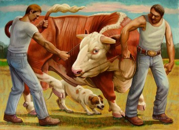 cattle bull cow Painting - Moving the Bull II