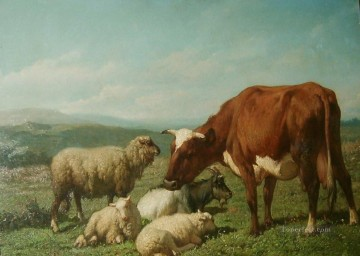 Animal Painting - Robbe Louis Cattle in a field