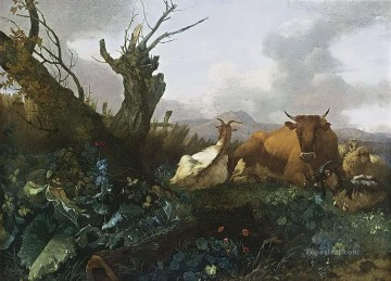 Meadow Art - Willem Romeijn Cow Goats and Sheep in a Meadow
