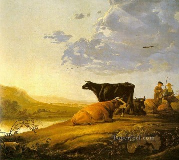 Animal Painting - Young Herdsman With Cows countryside painter Aelbert Cuyp