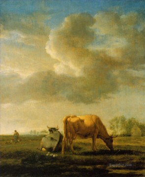 Animal Painting - adriaen van de velde cows on a meadow 1658