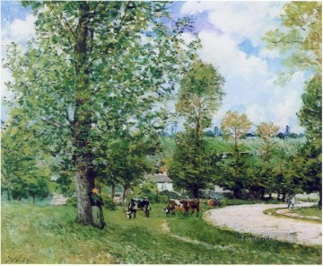 Animal Painting - alfred sisley cow pasture near louveciennes 1875