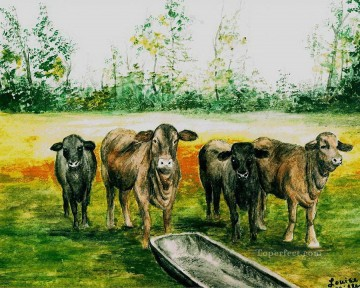 beefmaster cattle louise miller Oil Paintings