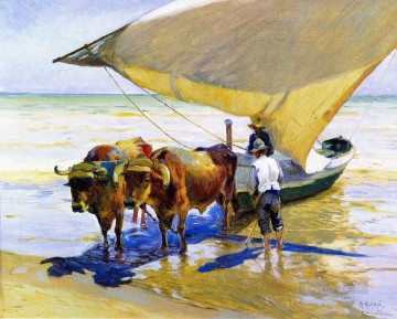 cattle bull cow Painting - cattle pull boat