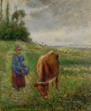 Animal Painting - cowherd pontoise 1882 Camille Pissarro