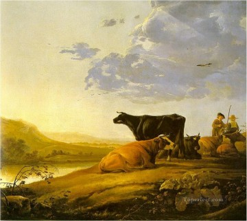 Animal Painting - cows classical landscape
