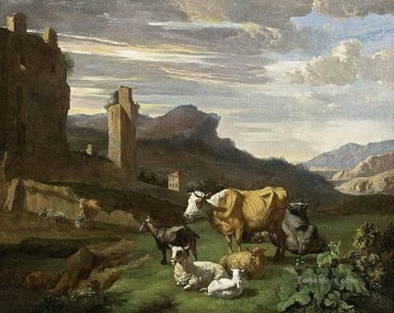 Animal Painting - italian cow landscape