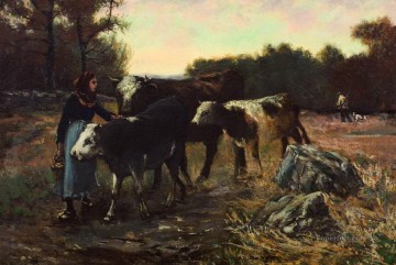 cattle bull cow Painting - landscape with cattle 1910