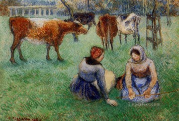Animal Painting - seated peasants watching cows 1886 Camille Pissarro