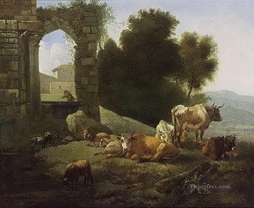 Animal Painting - shepherd cow italianate landscape willem romeijn