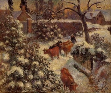 Animal Painting - snow effect in montfoucault 1882 Camille Pissarro bulls