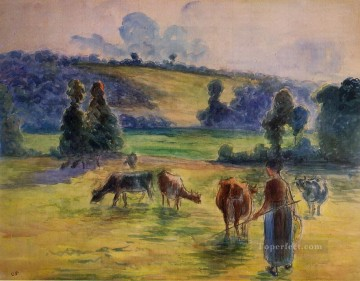 Animal Painting - study for cowherd at eragny 1884 Camille Pissarro