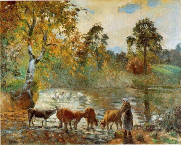 Animal Painting - the pond at montfoucault 1875 Camille Pissarro