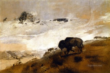 Animal Painting - the stand crossing the missouri 1899 Charles Marion Russell yak