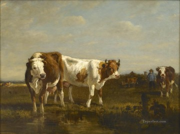 Animal Painting - troyon cattle at a watering hole