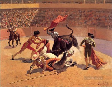 cowboy Painting - Bull Fight in Mexico Old American West cowboy Frederic Remington
