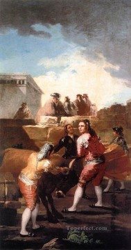 cattle bull cow Painting - Fight with a Young Bull Romantic modern Francisco Goya