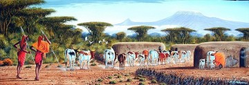 Ndeveni Maasai Moran and Cows at Manyatta Huge Oil Paintings