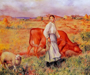 renoir Art - Pierre Auguste Renoir Shepherdess Cow and Ewe