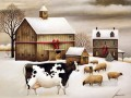 cattle and sheep in snow village