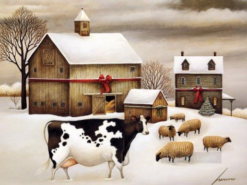 cattle bull cow Painting - cattle and sheep in snow village