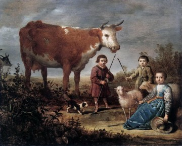 children and cow dog sheep Oil Paintings