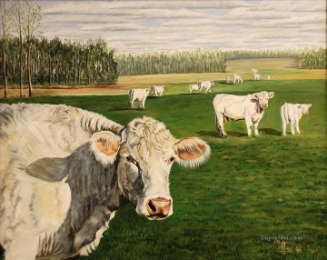 cattle bull cow Painting - cows Lee Mims