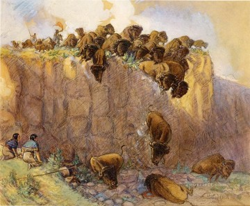 Animal Painting - driving buffalo over the cliff 1914 Charles Marion Russell yak