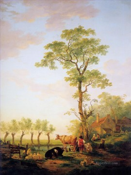 cattle bull cow Painting - dutch landscape with cattle and farm