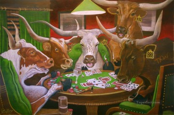 dogs playing poker Painting - longhorns cattle playing poker
