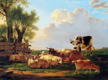 cattle bull cow Painting - meadow with cattle